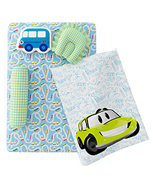 Fancy Fluff Premium Baby Mattress Set Cars Design Blue - Pack Of 7
