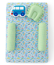 Fancy Fluff Premium Baby Mattress Set Travel Design Green & Blue - Pack Of 5