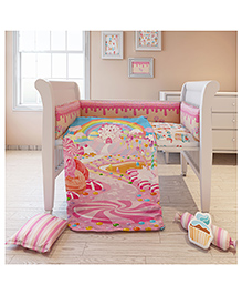 Fancy Fluff Premium Baby Cot Set Candy Land Design Pink - Pack Of 7