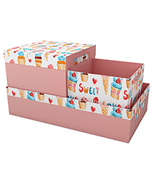 Fancy Fluff Candy Land Printed Storage Box Set Of 3 - Peach