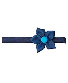 Keira's Pretties Elegant Headband With Flower Applique - Navy Blue
