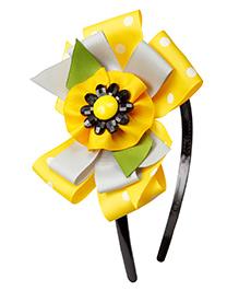 Keira's Pretties Polka Dots Sunflower Bow Hair Band - Yellow
