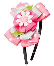 Keira's Pretties Polka Dots Sunflower Bow Hair Band - Pink