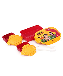 Chhota Bheem Lunch Box Set With Fork Spoon & Small Containers - Red Yellow