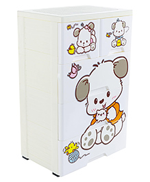 Storage Cabinet With 5 Compartments Puppy Print - White