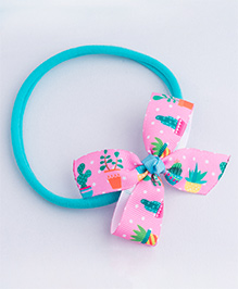 Ribbon Candy Cactus Print Stretchy Rubber Band - Blue Pink & Green