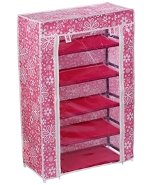 Fab N Funky - Floral Print 5 Layer Shoe Rack