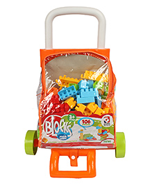 Planet Of Toys Building Blocks Set With Trolley Bag Orange - 106 Pieces