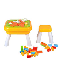 Planet Of Toys Building Blocks Set With Model Making Table & Stool - Yellow