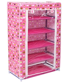 Fab N Funky - 5 Layer Shoe Rack Pink Bear Print