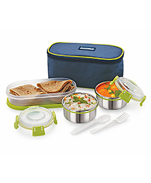 Magnus Stainless Steel Lunch Box With Case Set Of 3 - Green - 2254230