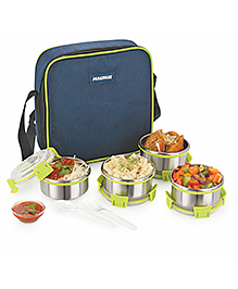 Magnus Stainless Steel Lunch Box With Case Set Of 4 - Green