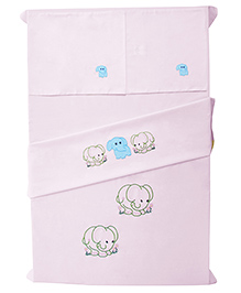 Baby Rap The Elephant Tribe Baby Bed Sheet With Pillow Cover Pack Of 4 - Pink