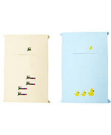 Baby Rap Ducks On Train Baby Bed Sheet With Pillow Covers Pack Of 4 - Blue Yellow