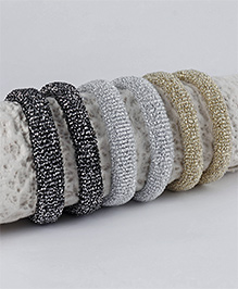 Babyhug Glittery Hair Rubber Band Pack Of 6 - Silver Beige Black