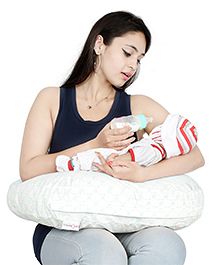 Lulamom Allergen Nursing Pillow & Cover Bunny Print - White