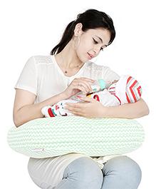Lulamom Curved Soft Feeding Pillow Chevron Pattern - Green