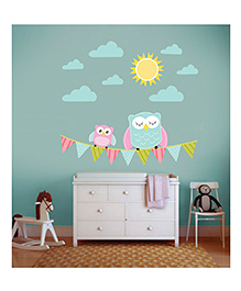 Little Jamun Owl Wall Decal Blue Pink - Large