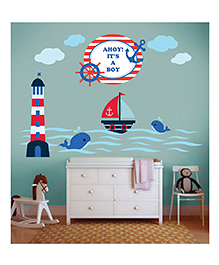 Little Jamun Medium Size Nautical Wall Decal For Baby Boy - Blue & Multicolor