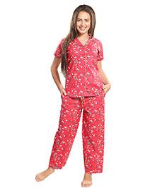Piu Front Open Animal Print Sleepwear - Red