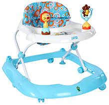 Fab N Funky Baby Walker With Toy Play Tray - Blue and White