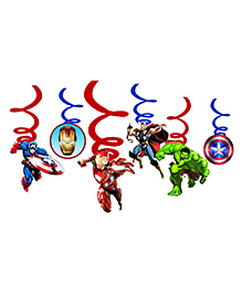 Party Propz Superhero Themed Birthday Swirl Pack Of 6 - Red & Blue