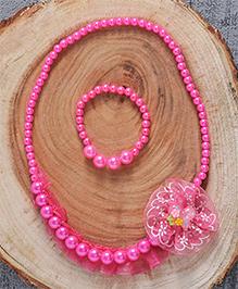 Babyhug Pearl With Flower Applique Jewellery Set - Dark Pink