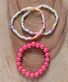 Babyhug Pearl & Beaded Bracelet Pack Of 4 - Dark Pink