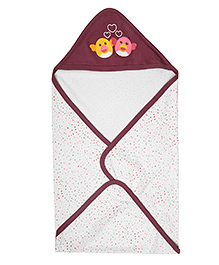 Morisons Baby Dreams Interlock Cotton Hooded Wrapper Bird Print - Maroon