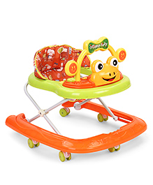 Froggy Design Musical Baby Walker- Light Green & Orange