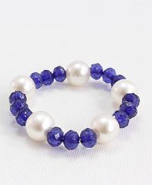 Milyra Crystal & Pearl Bracelet - Off White & Blue