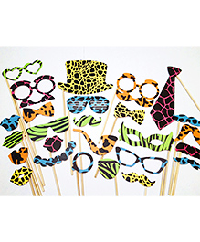 Party Propz Photobooth Props Animal Print Multicolour - 26 Pieces