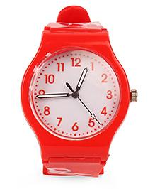 Leaf Print Analog Watch - Red