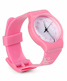 Leaf Print Analog Watch - Pink