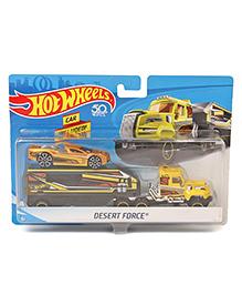 Hot Wheels Desert Force Truck With Car - Black & Yellow