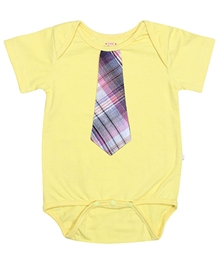 Little Heart - Yellow Onesies With Attached Tie