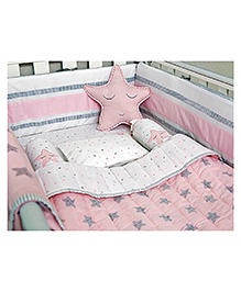 Masilo Linen For Littles Organic Cotton Bedding Set With Dohar Star Print - Pink & White