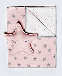 Masilo Linen For Littles Tuck Me In Organic Cotton Baby Blanket With Cushion Star Print - Pink