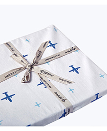 Masilo Linen For Littles Organic Cotton Fitted Cot Sheet Aeroplane Print - White Blue