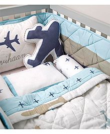 Masilo Linen For Littles Organic Cotton Cot Bedding Set With Dohar Aeroplane Print - White Blue