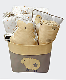 Masilo Linen For Littles Rocky My Crib Organic Cotton Gift Basket With Dohar Sheep Print Beige White - Pack Of 7