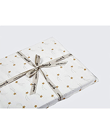 Masilo Linen For Littles Organic Cotton Fitted Cot Sheet Star Print - White Golden