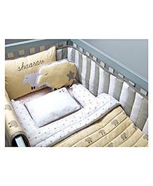 Masilo Linen For Littles Organic Cot Bedding Set With Dohar Sheep Print - Beige White