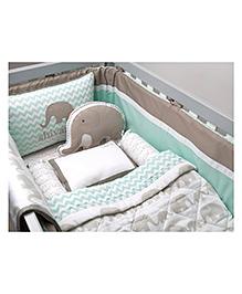 Masilo Linen For Littles Organic Cotton Cot Bedding Set With Dohar Aeroplane Print - White Sea Green