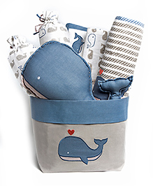 Masilo-Linen For Littles Rock My Crib Gift Basket With Dohar - Blue Off White