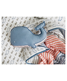 Organic Cot Bedding Set With Dohar - Blue Red