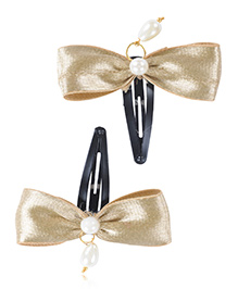Funkrafts Bow Applique Hair Clips With Pearls Set Of 2 - Golden