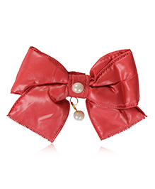 Funkrafts Bow Applique Hair Clip With Pearl - Red