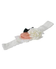 Funkrafts Crochet Headband Flower Applique - White