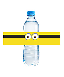 Party Propz Minion Water Bottle Labels Pack Of 12 - Yellow